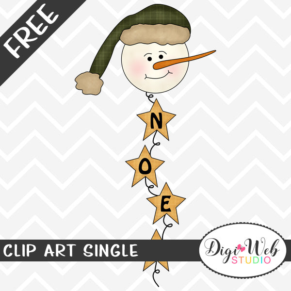 Free Snowman Head Noel Christmas Word Art Clip Art Single