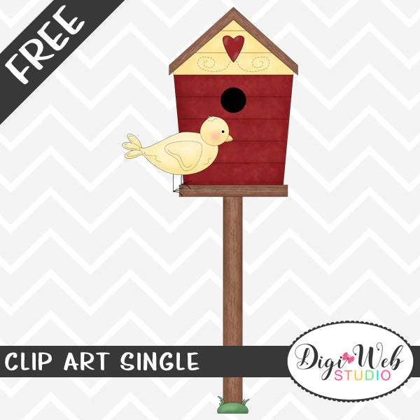 Free Yellow Bird Sitting On A Birdhouse Clip Art Single