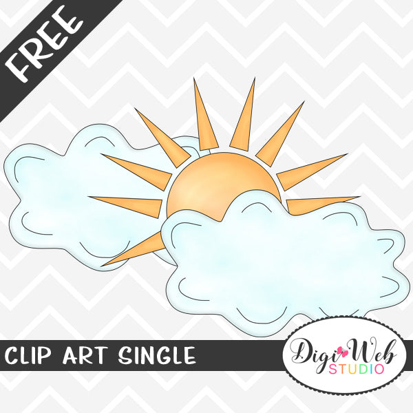 Free Sunshine and Clouds Clip Art Single
