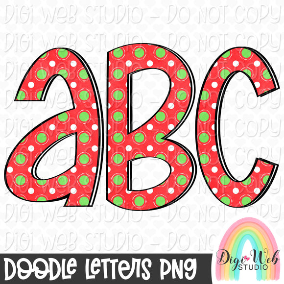 Christmas Dots 1 - Digital Doodle Alpha Letters