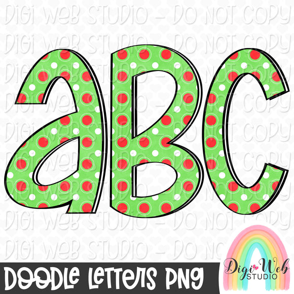 Christmas Dots 2 - Digital Doodle Alpha Letters