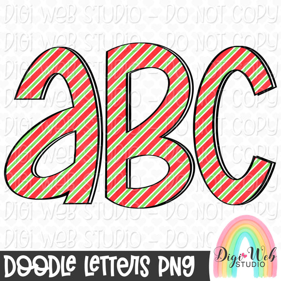 Christmas Stripes - Digital Doodle Alpha Letters