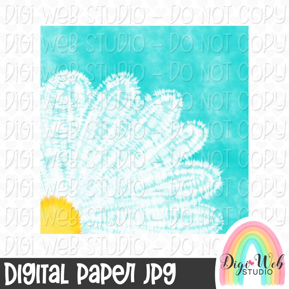 Daisy Tie Dye Digital Paper - Design Element
