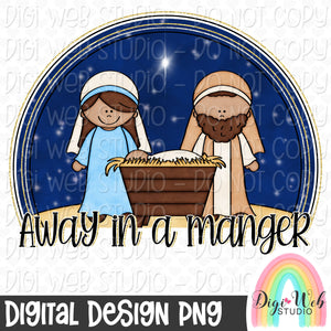 Away In A Manger - Christmas Digital Sublimation Printable