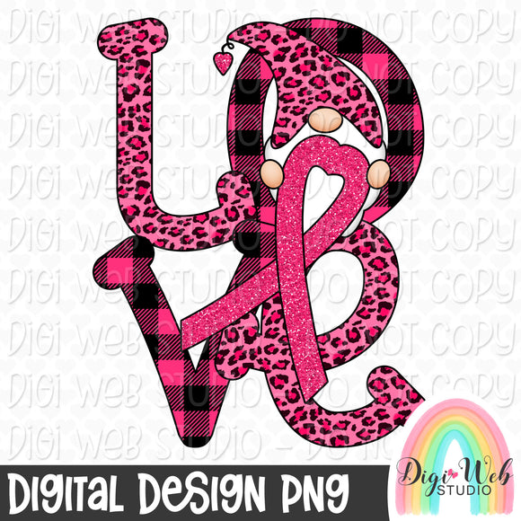 Breast Cancer Awareness Love Gnome - Digital Sublimation Printable