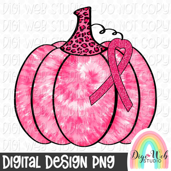 Breast Cancer Awareness Tie Dye Pumpkin - Digital Sublimation Printable