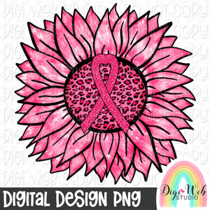 Breast Cancer Awareness Pink Ribbon Tie Dye Sunflower - Digital Sublimation Printable