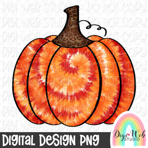Fall Tie Dye Pumpkin - Fall Digital Sublimation Printable