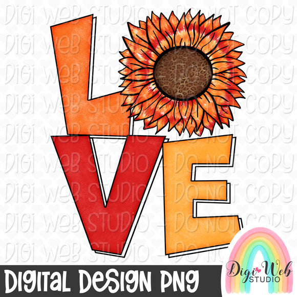 Fall Tie Dye Sunflower Love - Digital Sublimation Printable