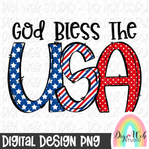 God Bless The USA - Digital Sublimation Printable