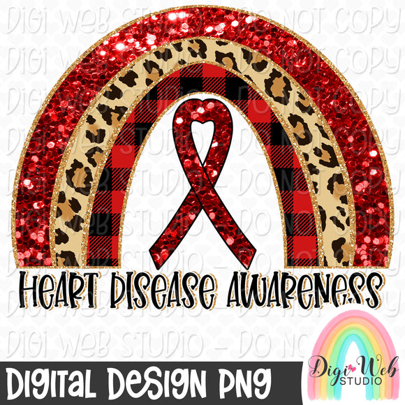 Heart Disease Awareness Rainbow - Digital Sublimation Printable