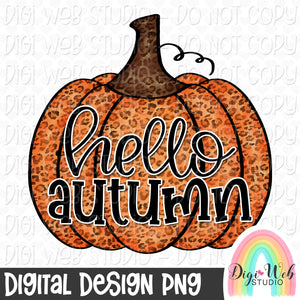 Hello Autumn Pumpkin - Fall Digital Sublimation Printable
