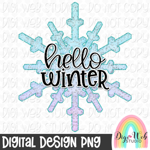 Hello Winter Snowflake - Digital Sublimation Printable