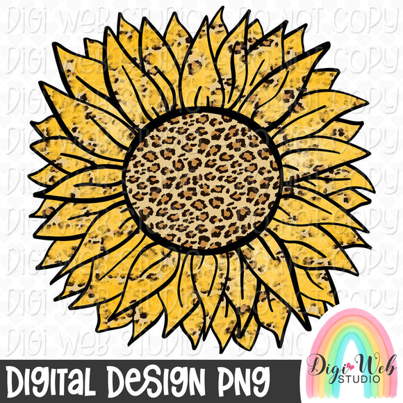 Leopard Print Sunflower - Digital Sublimation Printable