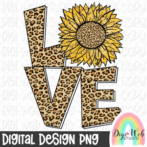 Leopard Print Sunflower Love - Digital Sublimation Printable