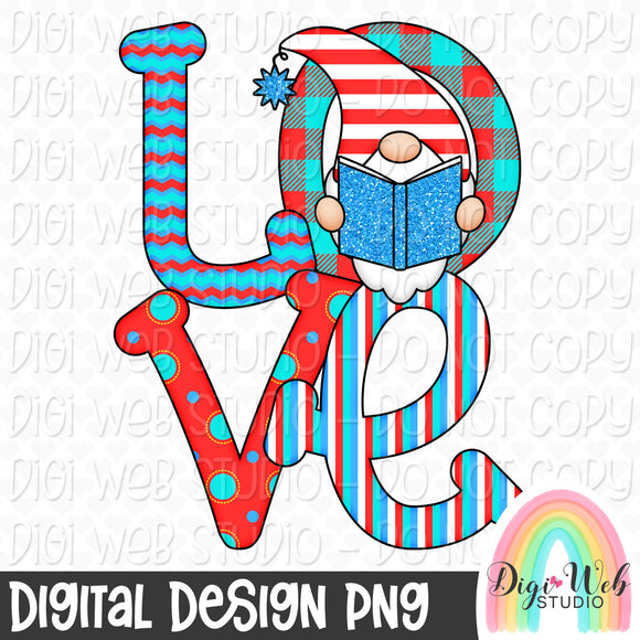 Love Reading Gnome - Digital Sublimation Printable