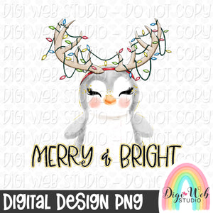 Merry & Bright Penguin - Digital Sublimation Printable