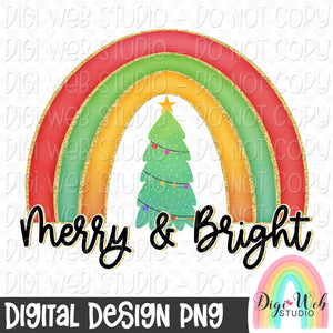 Merry & Bright Rainbow - Digital Sublimation Printable