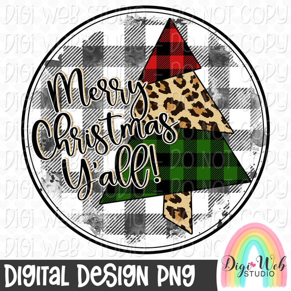 Merry Christmas Y'all Tree - Digital Sublimation Printable