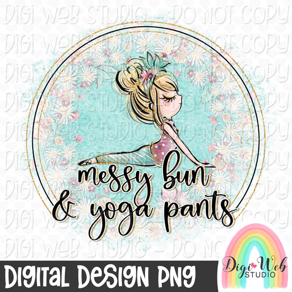 Messy Bun & Yoga Pants 1 - Digital Sublimation Printable