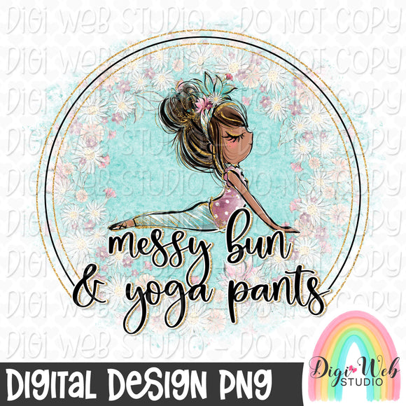 Messy Bun & Yoga Pants 4 - Digital Sublimation Printable