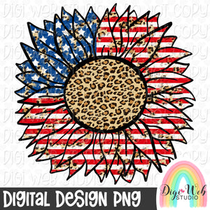 Patriotic and Leopard Print Sunflower 1 - Digital Sublimation Printable