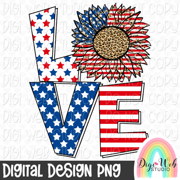 Patriotic Sunflower Love - Digital Sublimation Printable