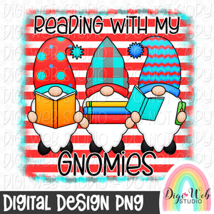Reading With My Gnomies - Digital Sublimation Printable