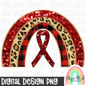 Red Ribbon Rainbow - Digital Sublimation Printable
