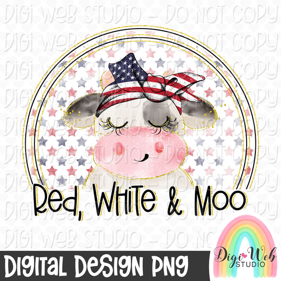 Red, White & Moo - Digital Sublimation Printable