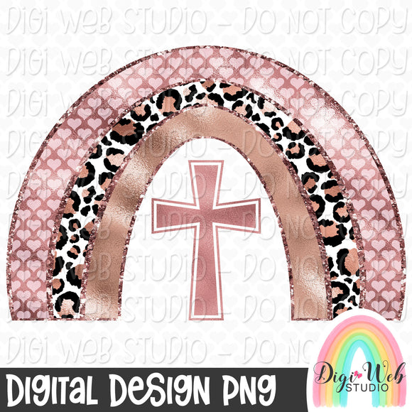 Rose Gold Cross Rainbow - Digital Sublimation Printable