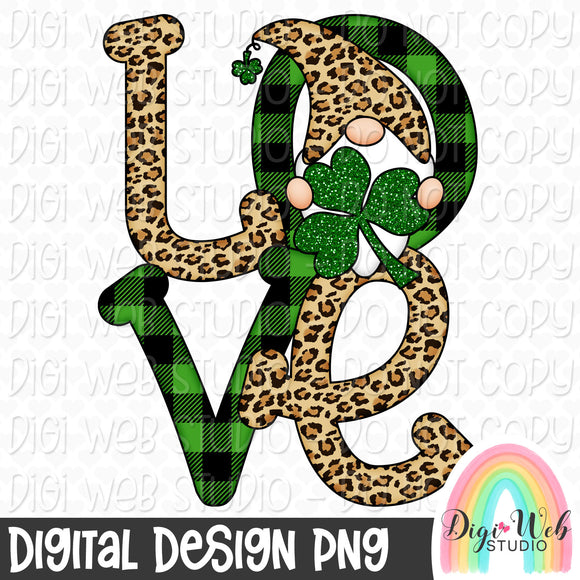 St. Patrick's Day Love Gnome - Digital Sublimation Printable