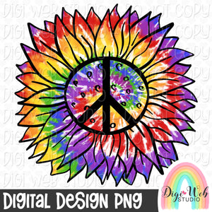 Tie Dye Peace Sunflower - Digital Sublimation Printable