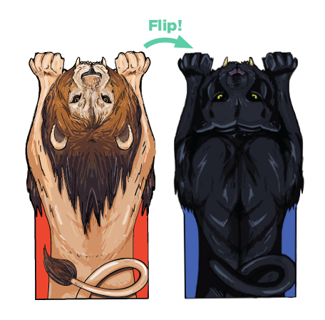 Luvsy Flip Blanket - Lion & Panther, 2 Blankets in 1