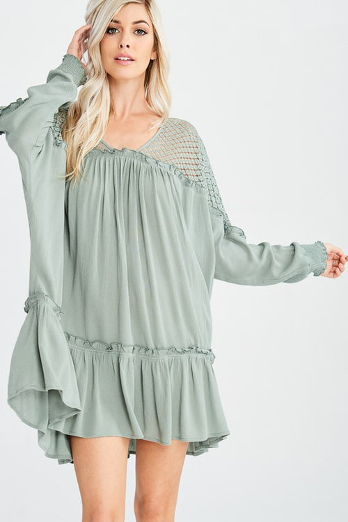 Heart Flutters Mini Dress (Dark Sage)
