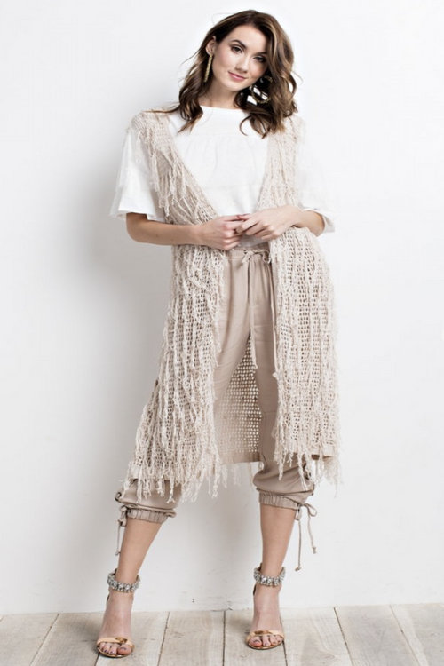 Natural color fringe cardigan vest