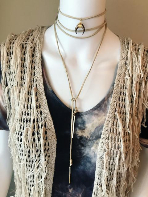 Crescent moon wrap necklace with fringe cardigan