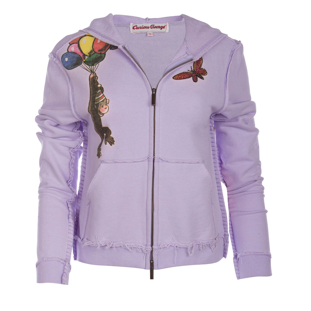 Curious George Women's Lavender Zip Hoodie Balloons Design with Crystals