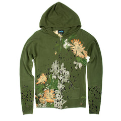 Till The End Women's Acrylic Zip Hoody Chrysanthrmum - Green