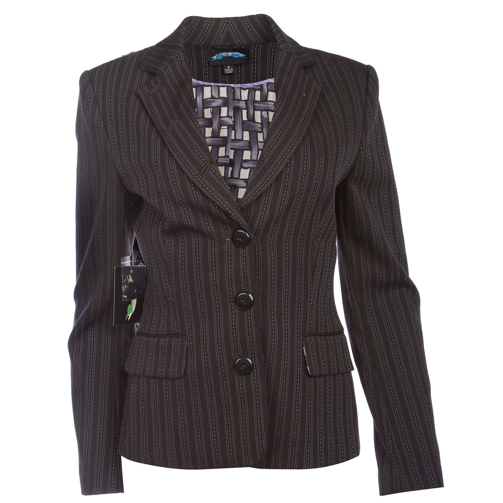Till The End Women's Black Blazer with Grey Stitch Stripe
