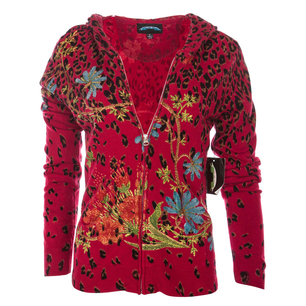 Till The End Women's Acrylic Zip Hoody Garden Leopard - Red