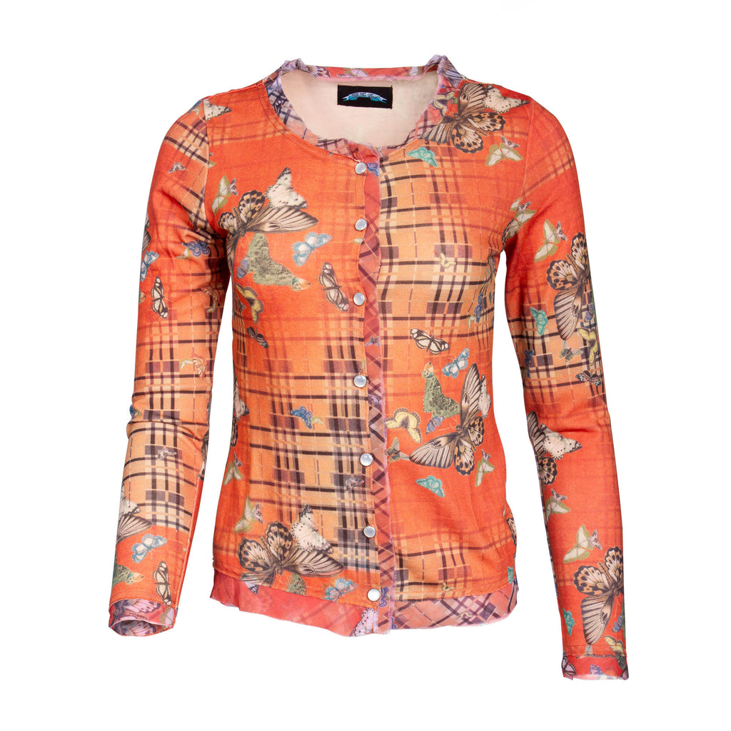 Till The End Long Sleeve Button Down Top - Butterfly Orange