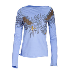Till The End Women's Embroidered Top - Blue