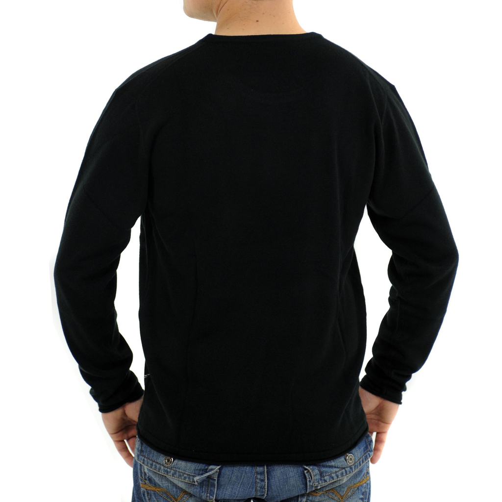 Raw 7 Men's Crewneck Sweater Fleur-de-lis Pirate Captain Design - Black