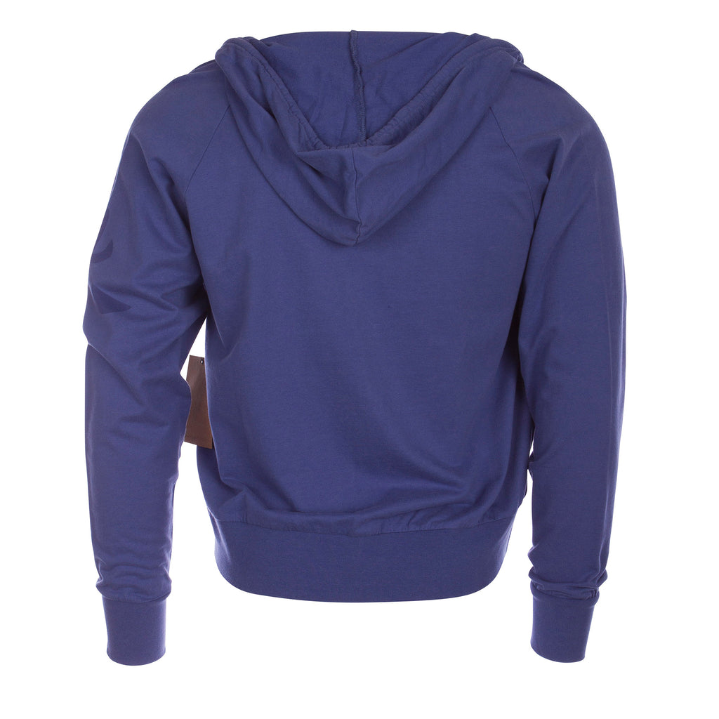 Raw7 Men's Blue Zip Hoodie with Chinese Symbol for Water
