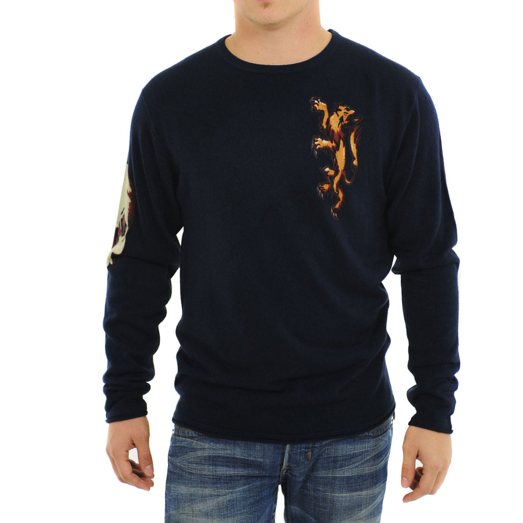 RAW7 Men's  Crewneck Sweater Skull Lion Eagle Lion Design - Navy