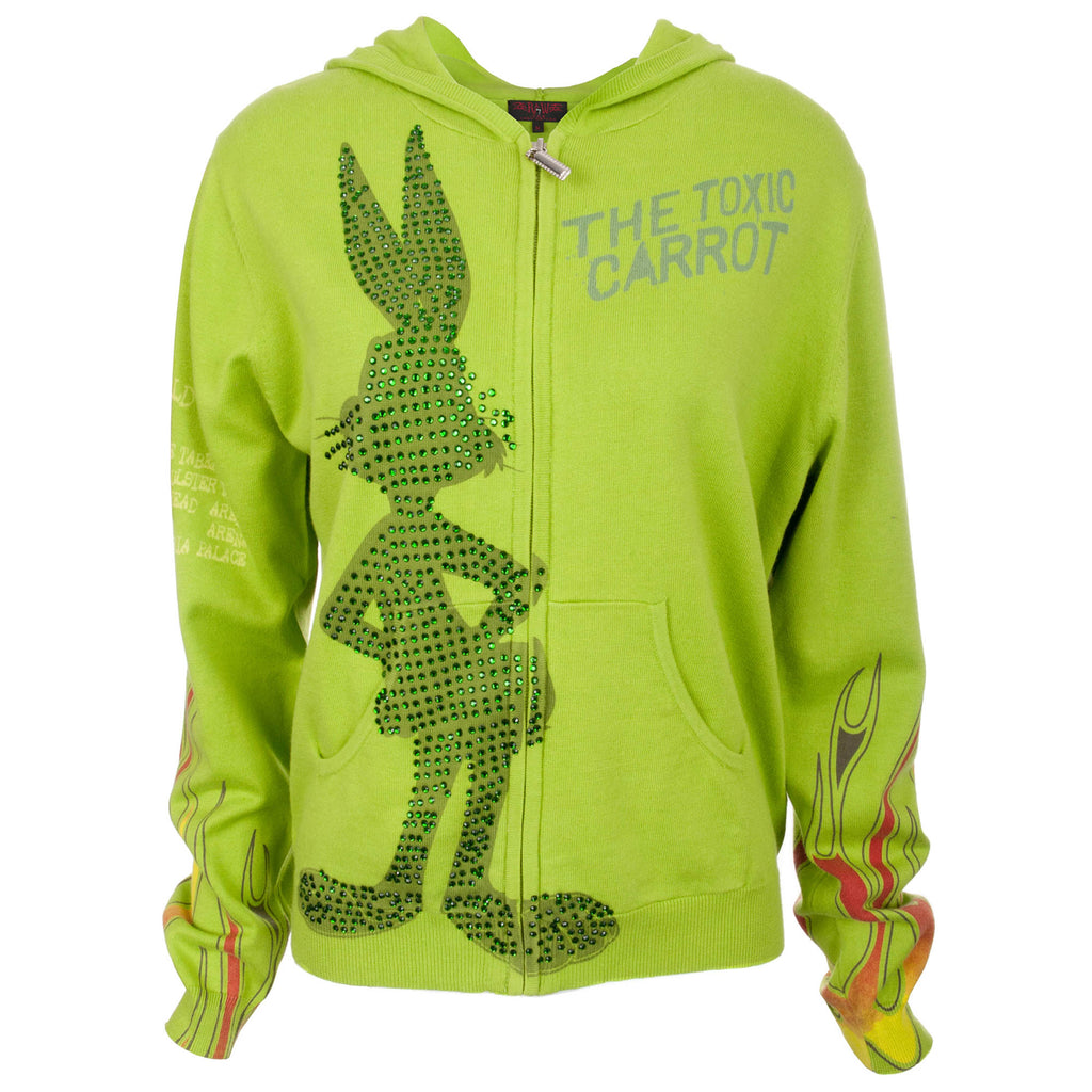Looney Tunes Women's Apple Green Zip Hoodie Bugs Bunny