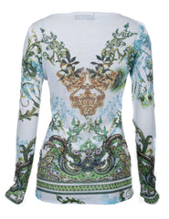 Till the End Womens White Earth Print Long Sleeve 100% Cotton Blend Top