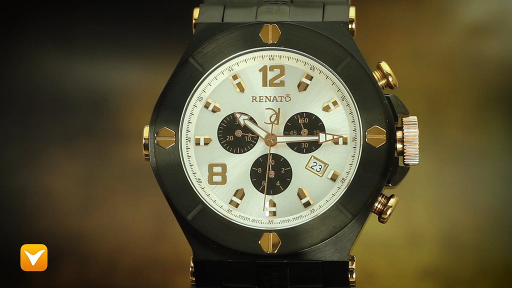 Renato 50MM Wilde Beast Swiss Chronograph Black IP Silver/Rose Dial - Only 100pcs Produced