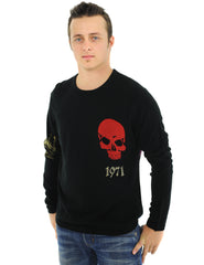 RAW7 Men's 100% Acrylic Crewneck Sweater Lion Design - Black.